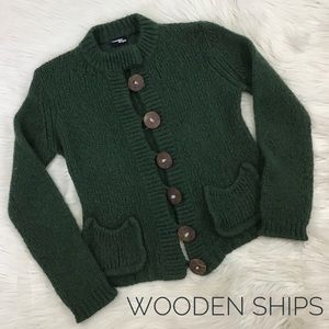 Wooden Ships Green Cardigan Sweater S/M Coconut